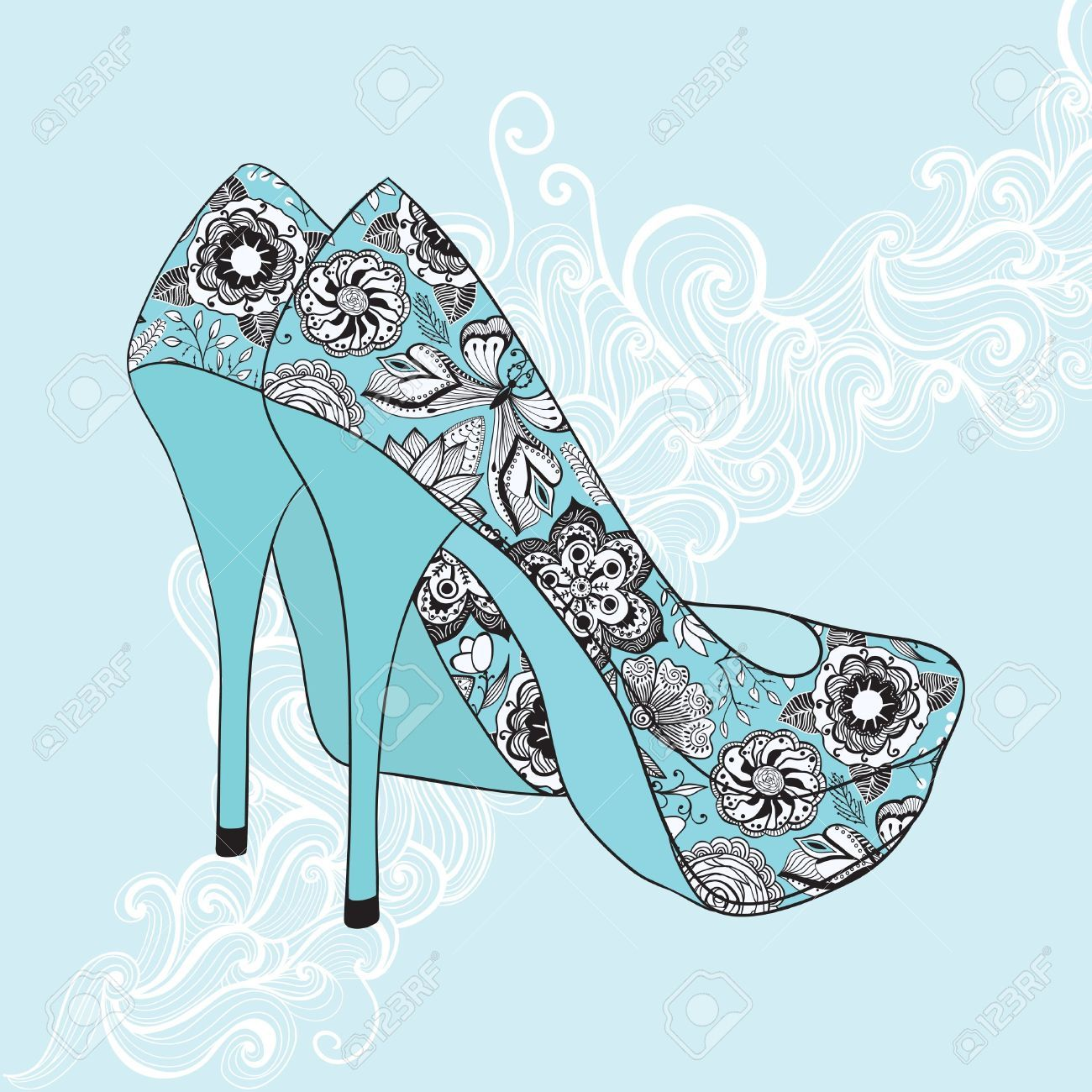 11585995-A-high-heeled-vintage-shoes-with-flowers-fabric-High-heels-background-with-place-for-you-text-Stock-Vector.jpg (1300×1300)
