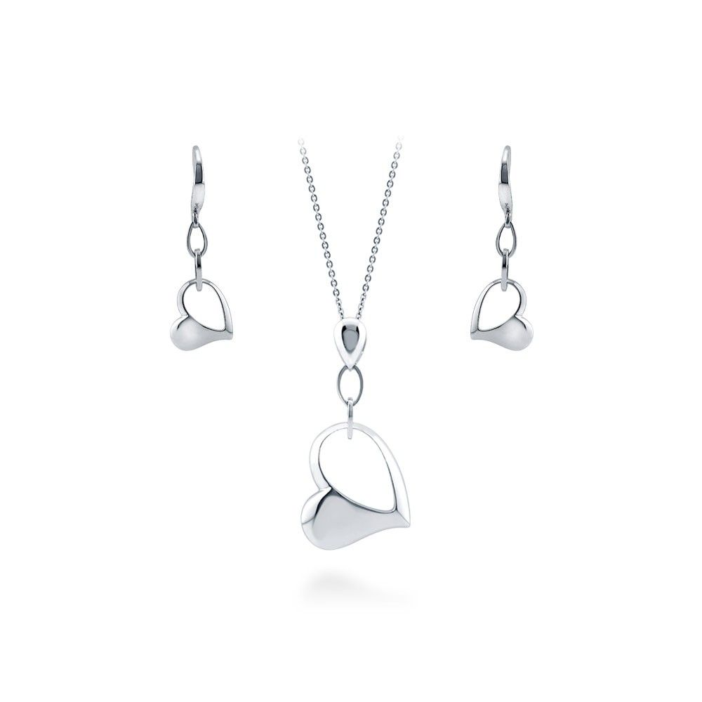 Sterling silver open heart necklace and earrings set sterling