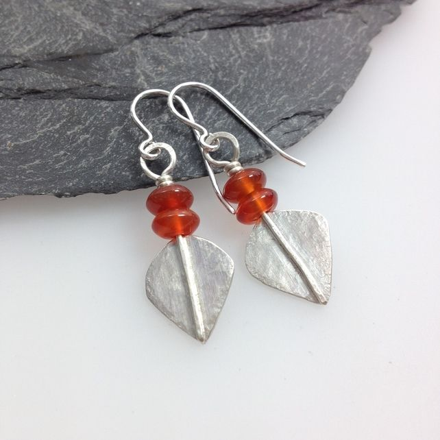 7dbb63e08 Silver and orange carnelian leaf spear earrings | Folksy 365 18