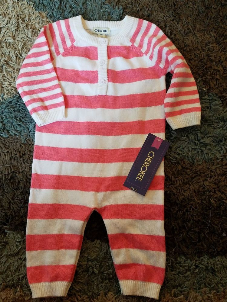 70e1970c4 baby gap girl 6 month sweater romper coral white Romper brand new ...