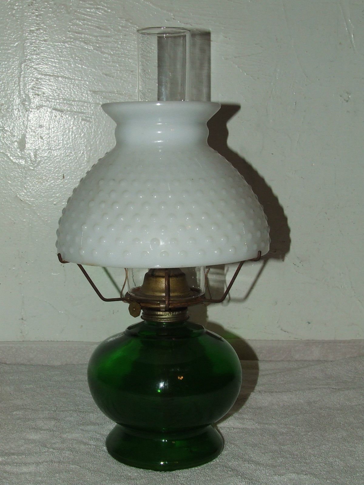 Rare antique emerald green glass oil lamp with milk glass shade rare antique emerald green glass oil lamp with milk glass shade pa mfg co usa mozeypictures Image collections