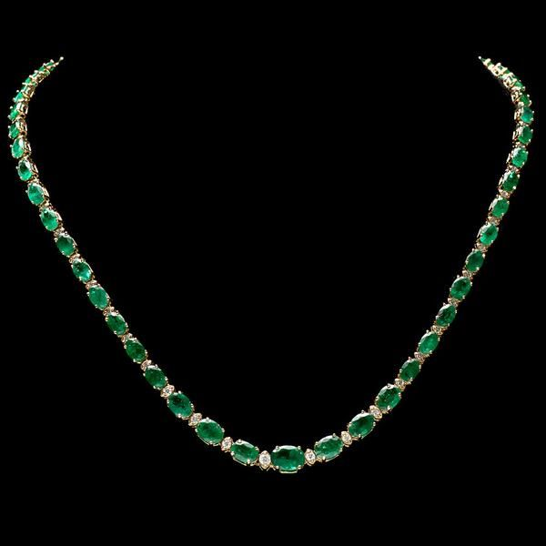 14K YELLOW GOLD 23CT EMERALD 1.10CT DIAMOND NECKLACE