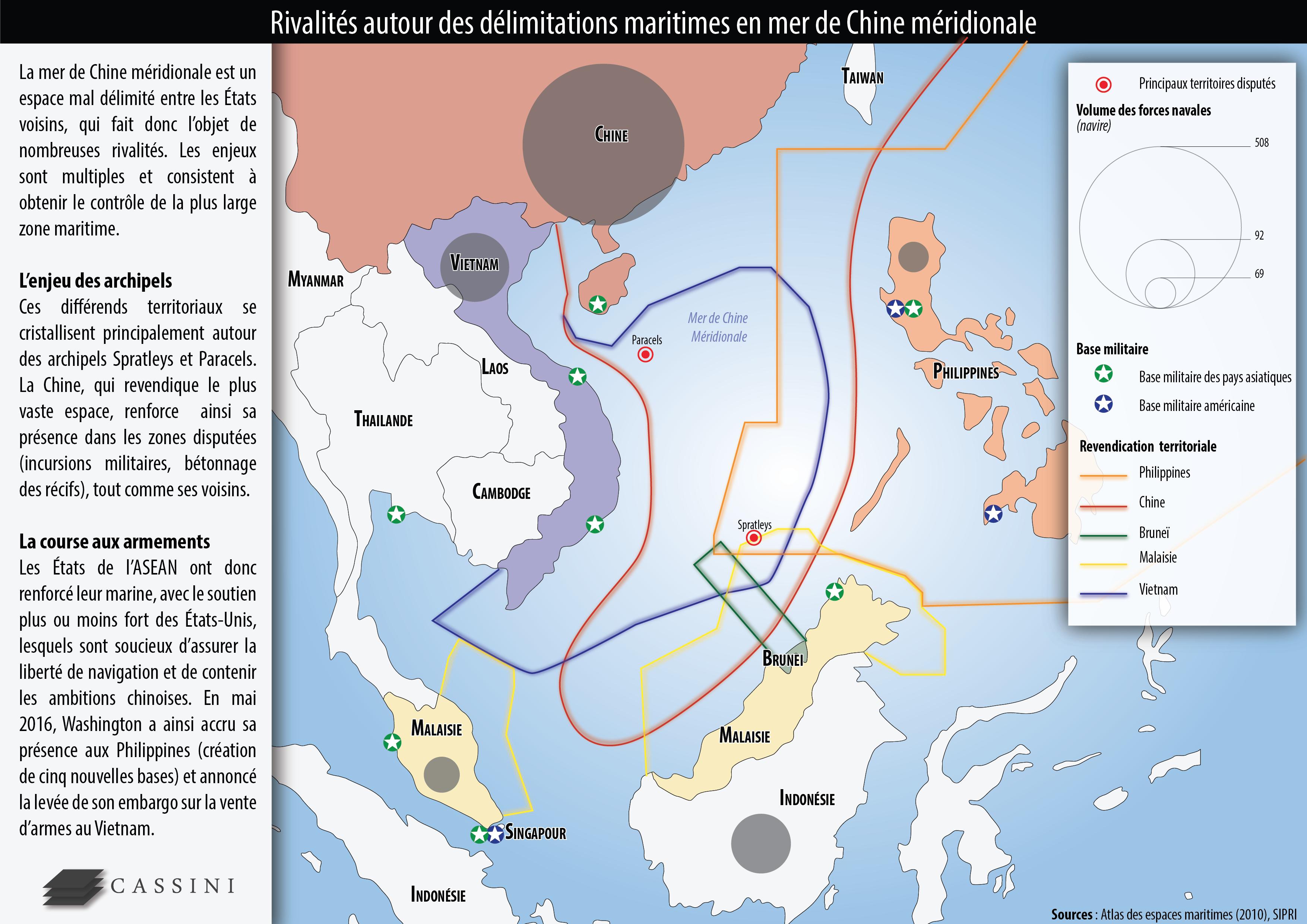 Enjeux Et Rivalites En Mer De Chine Meridionale Chine Carte Chine Meridional