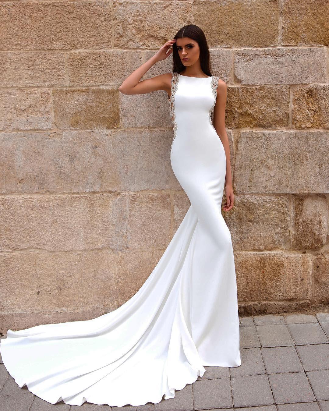 Elegant beaded mermaid white prom dresses 2017 new style
