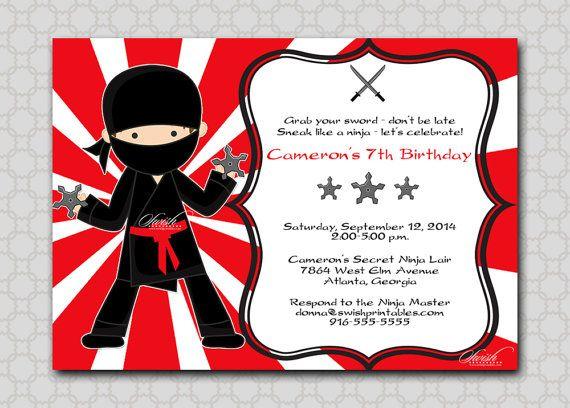 Printable Ninja Birthday Invitation