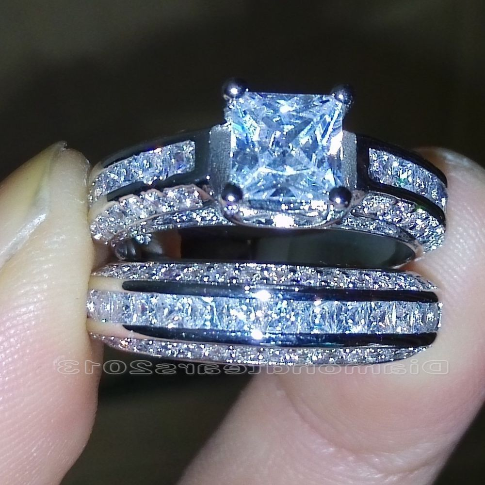 Size 5 10 Princess Cut 10k White Gold Filled White Topaz Wedding Ring Set  Gift