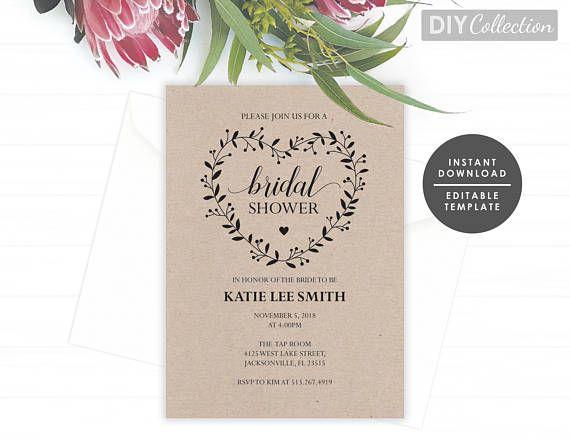Rustic Bridal Shower Invitation Template, Bridal Shower Invite - bridal shower template