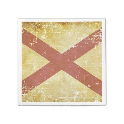Worn Paper Patriotic Alabama State Flag Napkin - retro kitchen gifts vintage custom diy cyo personalize