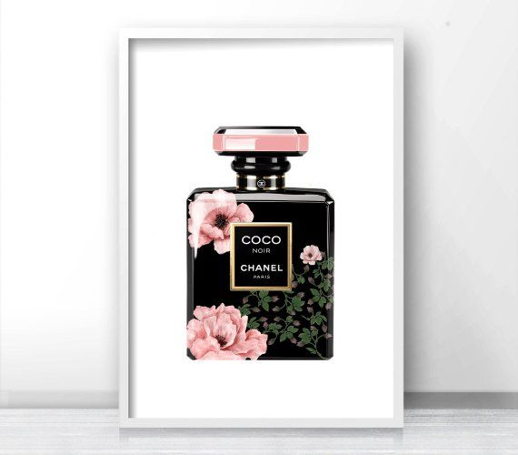 graphic about Chanel Printable titled Influenced Through Chanel Bottle Print, Printable Artwork Affiche