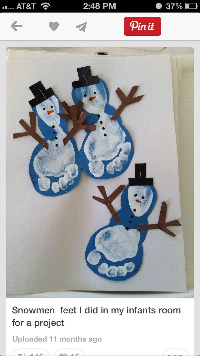 Footprint Snowmen Winterpret Peuters Pinterest Fussabdruck