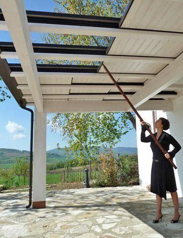 Photo of adjustable sliding roof for a pergola #pergola #backyardLandscaping #backyardLan…