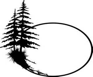 Pine tree vector. Clip art silhouette as