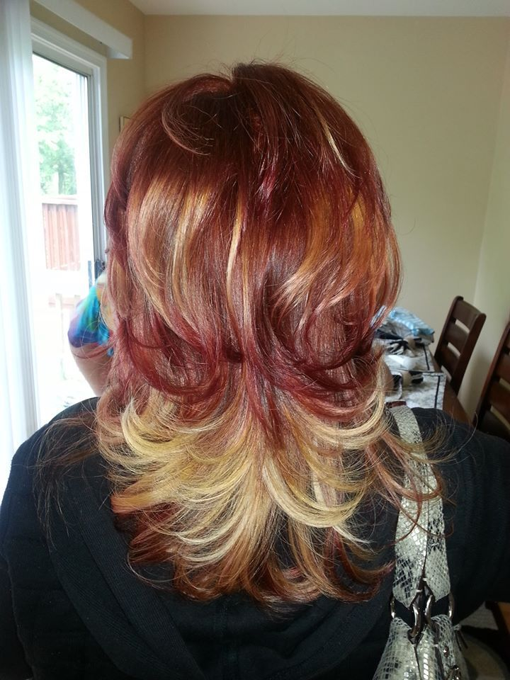 Copper Hair Color With Blonde Highlights  Dark Brown Hairs
