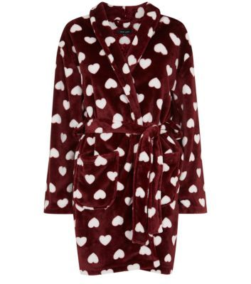 Red heart-print dressing gown (New Look). | fashion & style: pyjamas ...