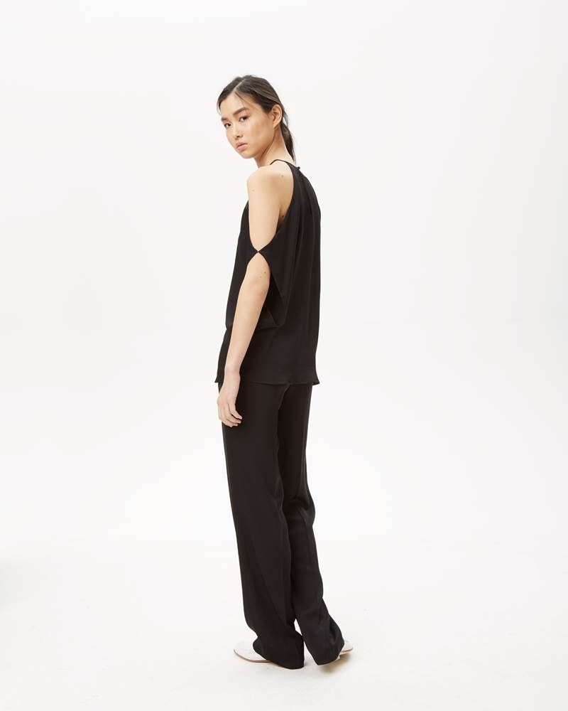 Theory's silk trapeze top in black.