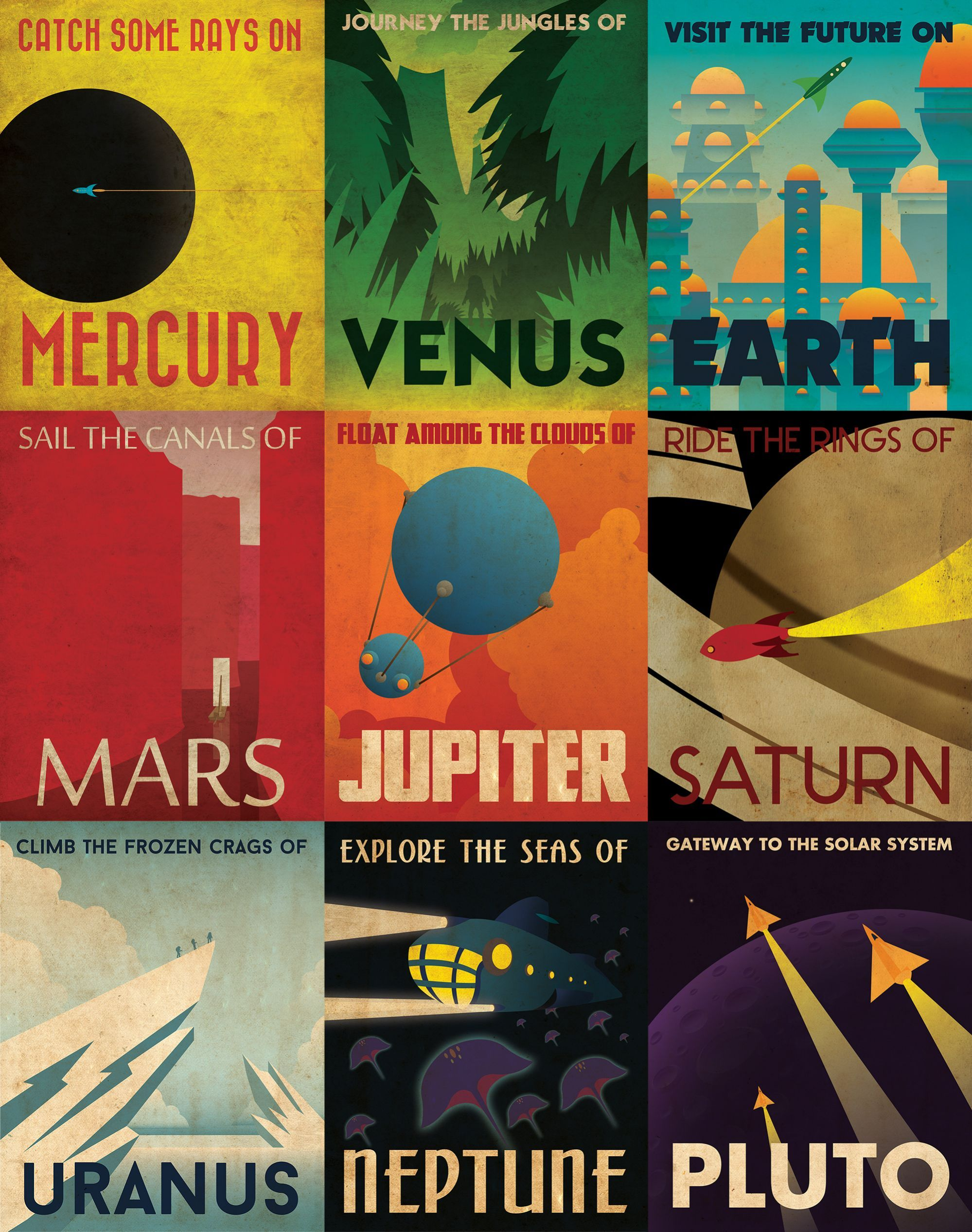 Retro planetary travel posters internet for Retro space design