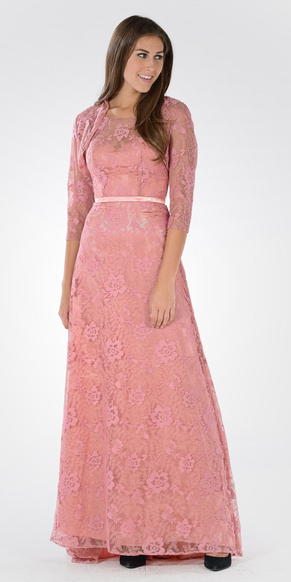 d1d675a9909 Illusion Lace V-Shape Back A-line Gown with Mid Sleeves Bolero Dusty Rose