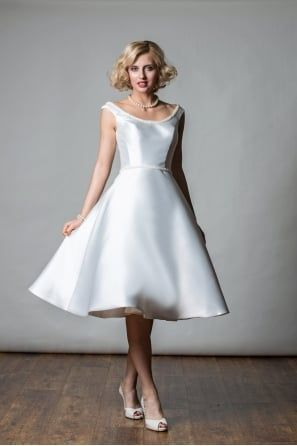 ce033ba0c08 Alana Tea Length Mikado   Pearl Short Vintage Inspired Wedding Dress ...
