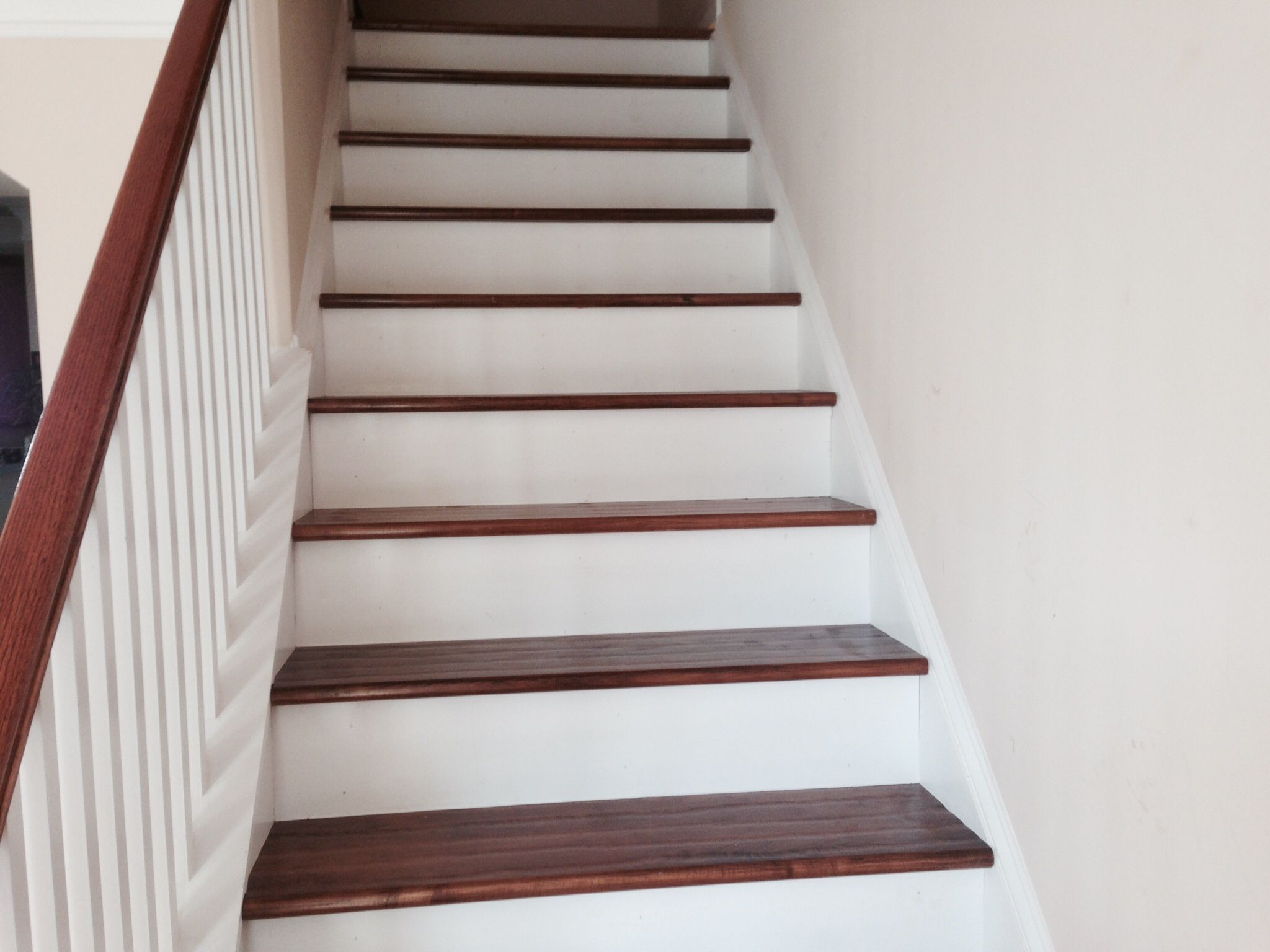 Hand Scraped Hard Maple Stair Tread With White Risers Stair | Solid Maple Stair Treads | Soft Maple | Stair Parts | Risers | Red Oak Stair | Hardwood Floors