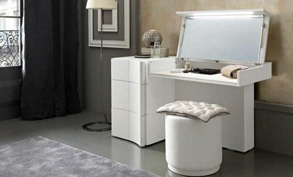 Coiffeuse avec miroir moderne originale massivement avec tiroirs cuisines - Coiffeuse moderne avec miroir ...