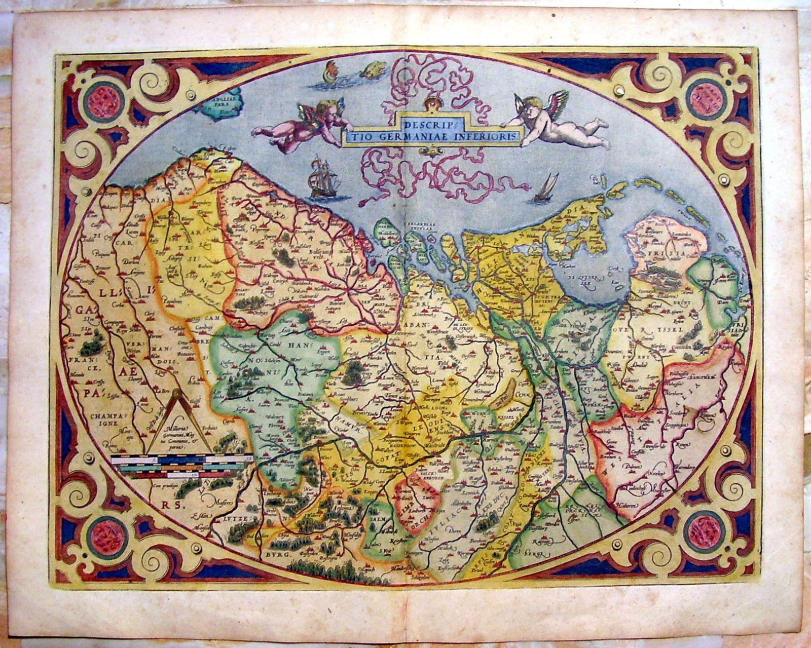 abraham ortelius 1587 original antique map the netherlands holland belgium europe geography mapping cartography illustration