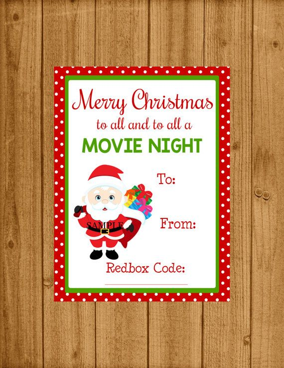 redbox movie printable christmas movie redbox ticket gift tag merry christmas to all and to all a movie night instant download in 2018 christmas - Redbox Christmas Movies