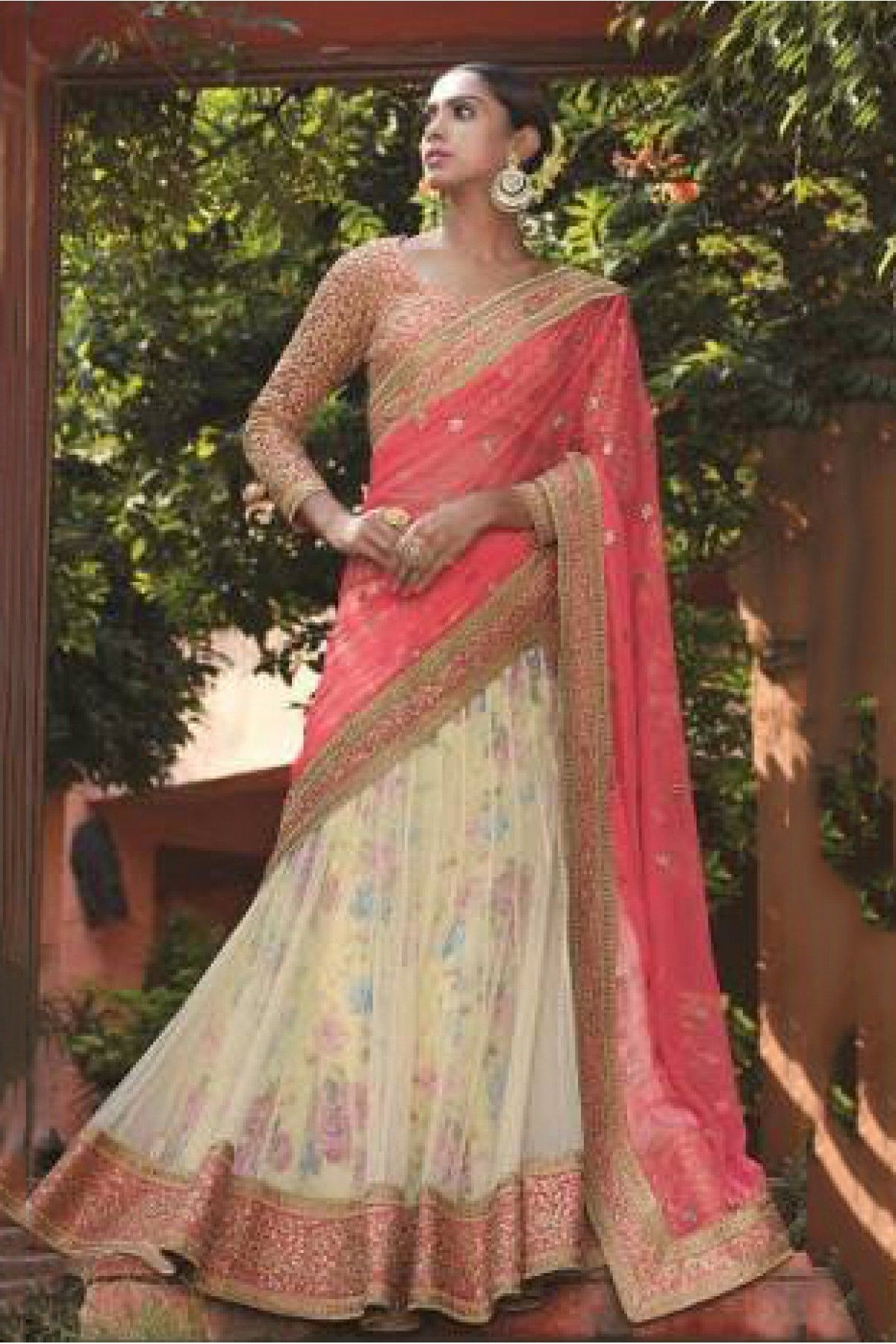 074e499f3f Peach and Cream Colour Georgette and Net Fabric Designer A Line Lehenga  Choli Comes With Matching