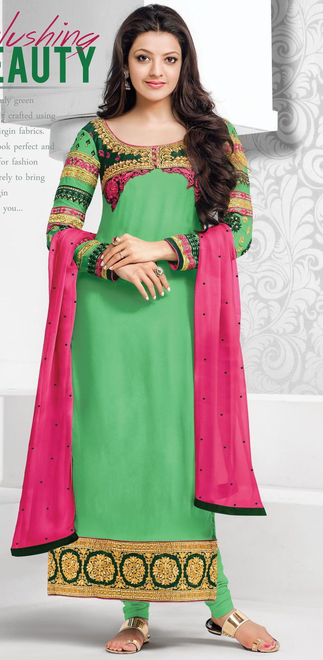 91b3a1fdaf Green embroidered georgette semi stitched salwar with dupatta - Surat Tex -  416987