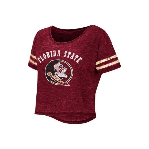 Florida State Juniors FSU Red Zone T-Shirt (€18) ❤ liked on Polyvore featuring tops, t-shirts, burgundy, red crop top, burgundy crop top, purple t shirt, stripe tee e red top