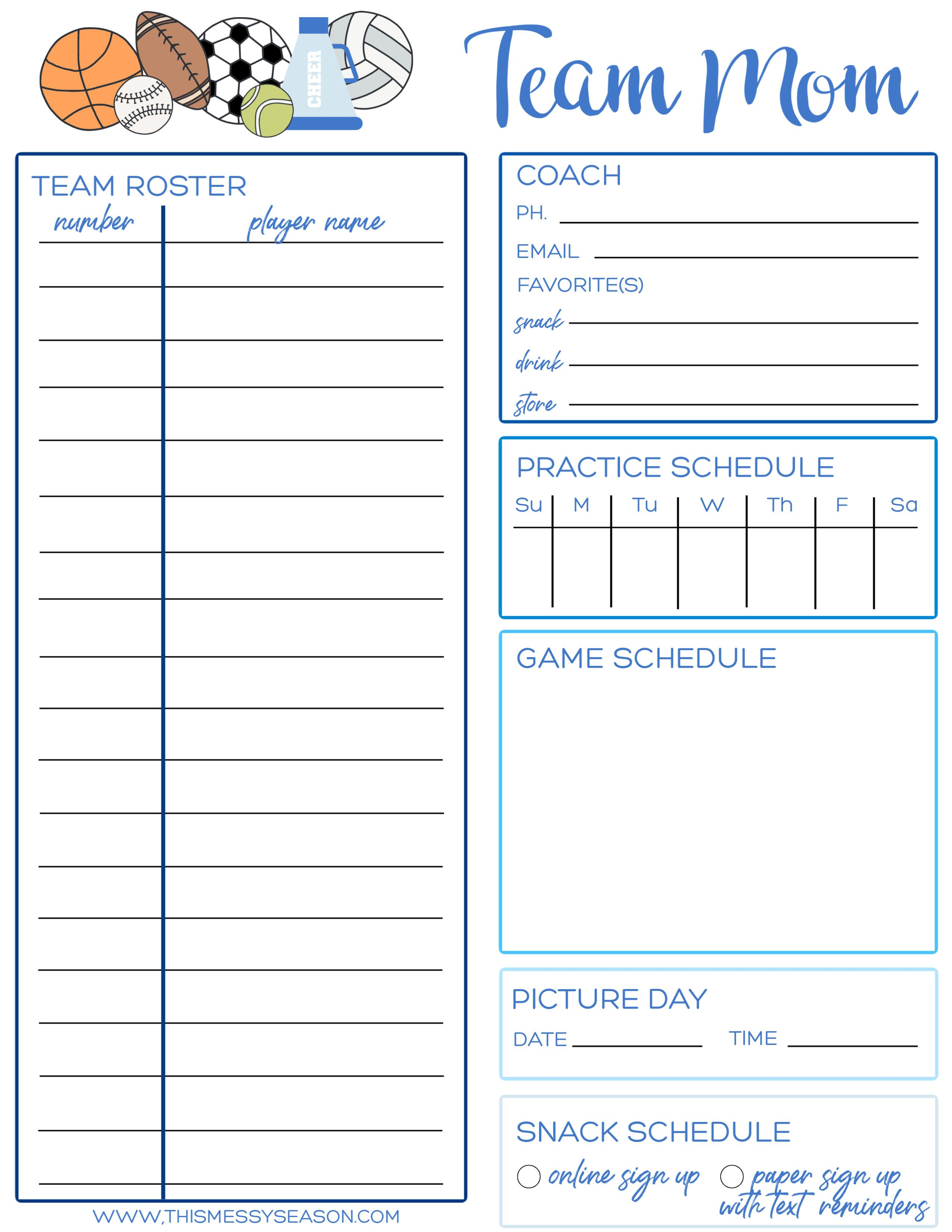 Tips For Your First Season As A Sports Mama Free Printable Team Mom Printable In 2020 Team Mom Mom Printable Sports Mom