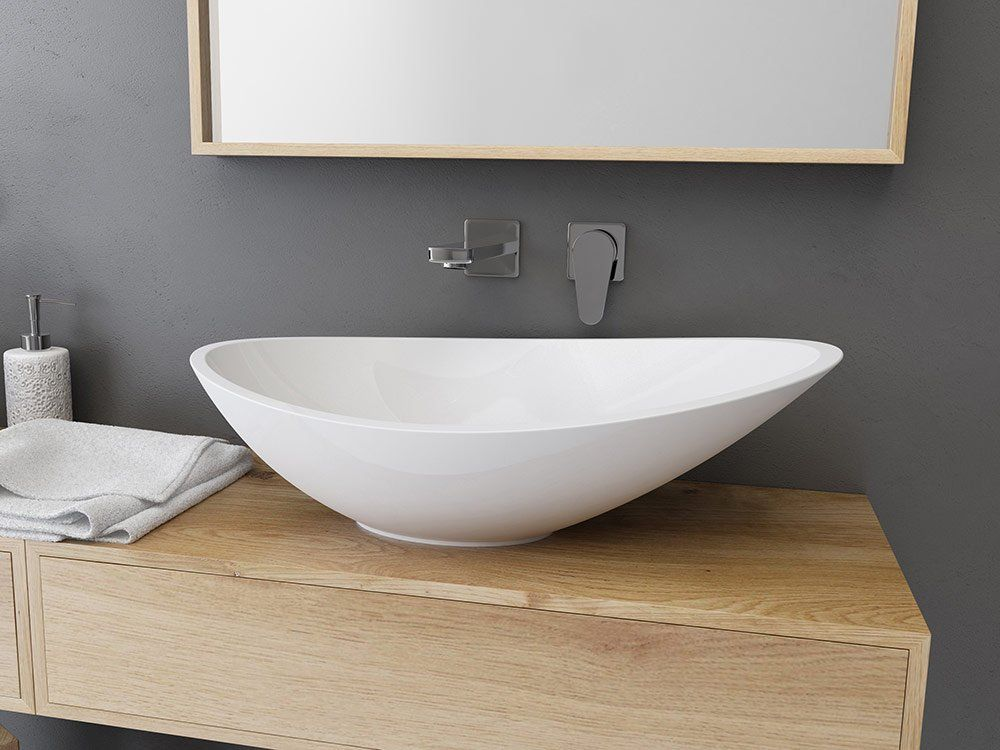 Une Vasque A Poser Asymetrique Leroy Merlin Vasque A Poser Vasque Meuble Pour Vasque A Poser