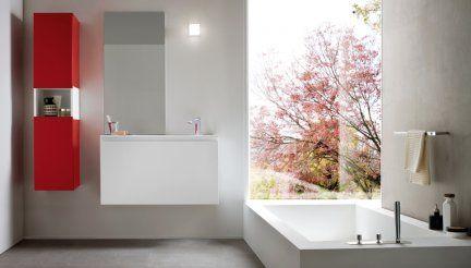 Bagno Rettangolare ~ Mobile da bagno lapis serie birex base lavabo bianco e specchio