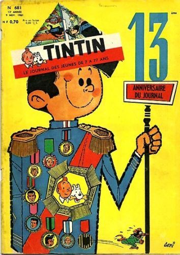 Vintage 1961 French Tintin Magazine Cover.