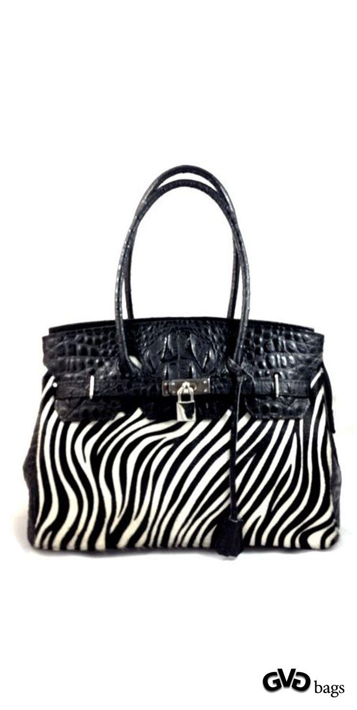 Jackie Womens Black Genuine Leather Handbag And Faux Pony Hair Lock Key