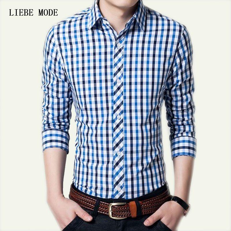 7aff11c2582 2017 New Brand Plus Size Men s Spring Autumn Formal Shirt Slim Fit Plaid Men  Shirt Long