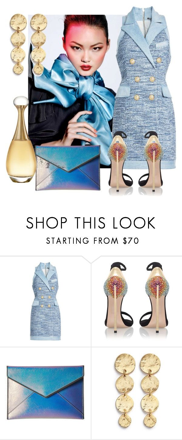 """""""The blue's"""" by sofiacalo ❤ liked on Polyvore featuring Balmain, Casadei, Rebecca Minkoff, Kenneth Jay Lane and Christian Dior"""
