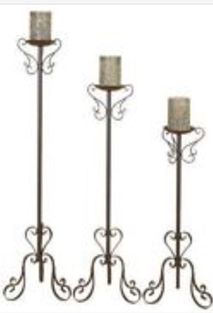 Trio Curly Metal Floor Candle Holders Metal Candle Holders Floor Candle Holders Tall