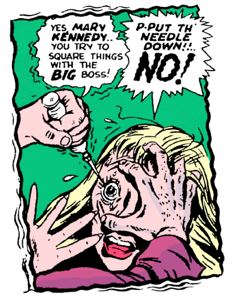 A Sample Of The Injury To The Eye Motif Also Used In Text Pp 81 82 One Story Was Reprinted In True Crime V2 1 Crime Comics True Crime Golden Age Comics