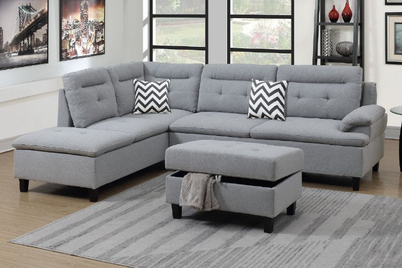 Poundex F6589 3 Pc Martinique Ii Grey Linen Like Fabric Sectional Sofa Reversible Chaise And Storage Ottoman Fabric Sectional Sofas Sectional Sofa With Chaise Sectional Sofa