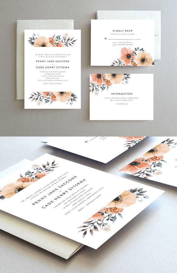 Wedding Invitations // Wedding Invites // Printable Wedding Invitation // Floral Peach Wedding Invitation // Spring Wedding // Summer Wedding // Printable Invitation // Design by Oakhouse