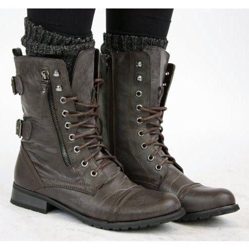 Vintage Femme Chaussures Bottes Shoefashionista Noir Militaire 0BfwFISnq