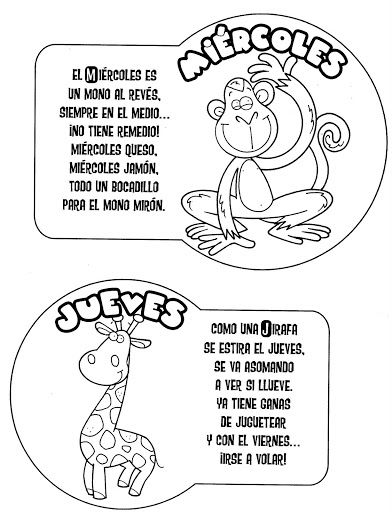 Days of the week in spanish free coloring pages