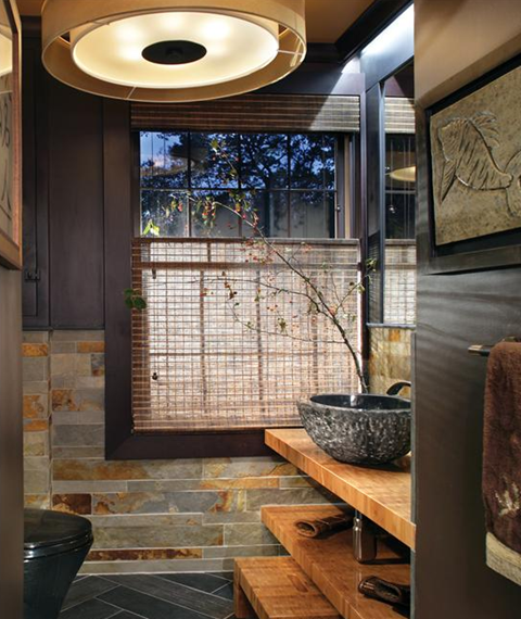 Asian Inspired Bathroom. Designer: Holly Rickert; Photo By: Peter Rymwid  Architectural
