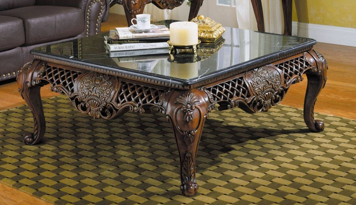 Home Elegance Gladstone Cherry Cocktail Table With Marble Top Coffee Table Wood Cocktail Table Elegant Coffee Table [ 694 x 1200 Pixel ]