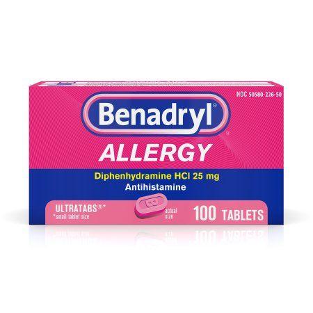 Benadryl Ultratabs Antihistamine Allergy Medicine Tablets 100 Ct Walmart Com Cold Medicine Allergy Medicine Benadryl