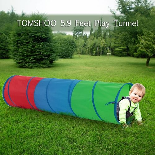 TOMSHOO 5.9 Feet Tunnel Portable Children Kids Play Tent Outdoor Garden Folding Pop Up Baby Outdoor Toy Tent