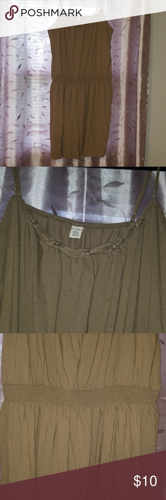 Old Navy Short Sundress Old Navy olive short sundress with braided detail around collar and detailed waistband.  Dress was worn with live. Some beading on backnof the dress. I tried to capture in last photo but it doesn't show in pics. Old Navy Dresses Mini #shortsundress