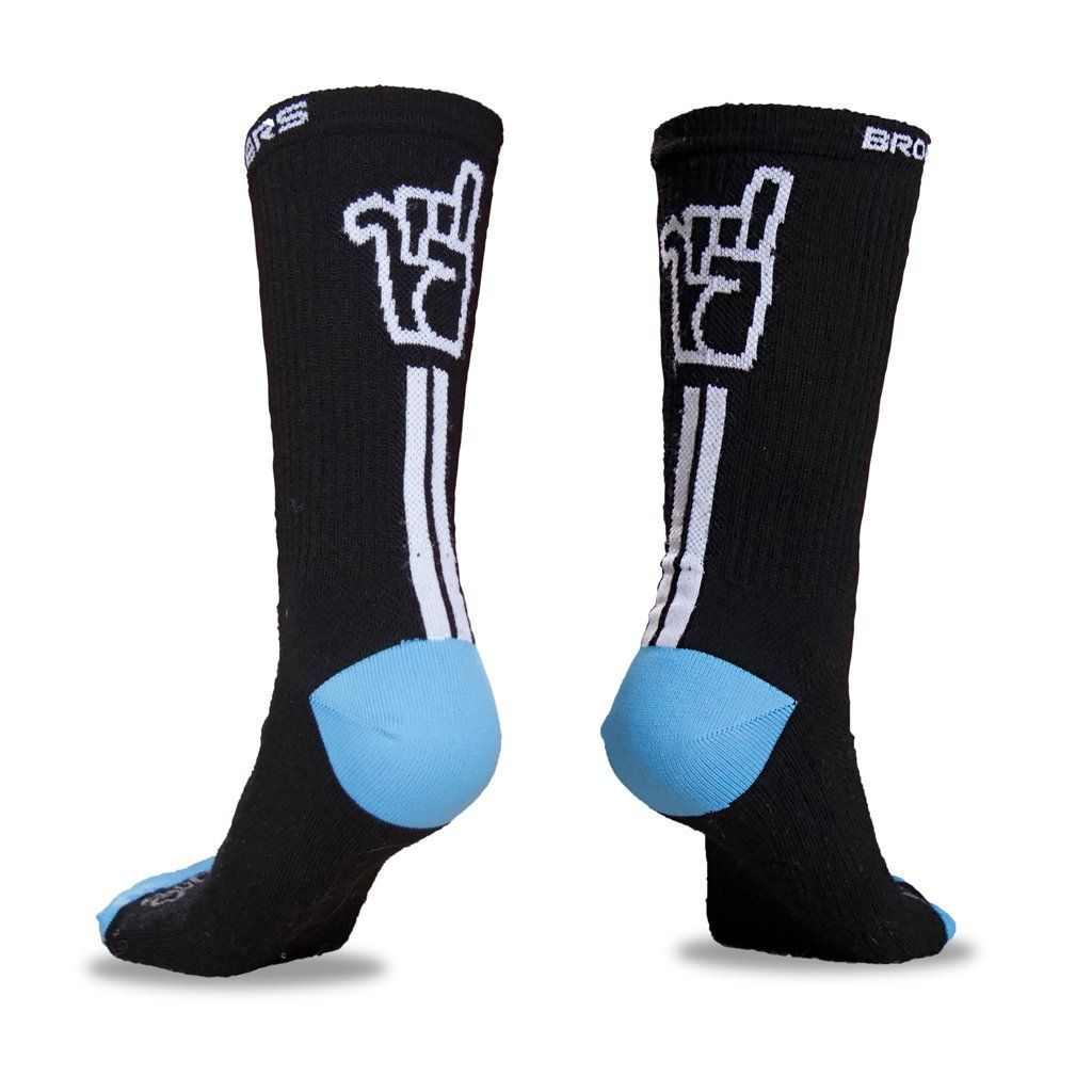 Unisex Broken Riders SeeYa GT logo black merino wool socks