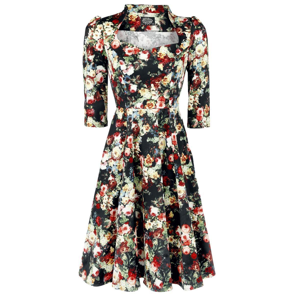 H&R London  Mittellanges Kleid  »Thorny Rose Bloom 3/4 Sleeve Swing Dress«   Jetzt bei EMP kaufen   Mehr Gothic  Mittellange Kleider  online verfügbar ✓ Unschlagbar günstig!
