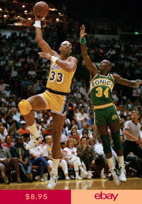 Kareem Abdul Jabbar Lakers Sky Hook Shot Retro Huge Giant Print Poster Kareem Abdul Jabbar Nba Basketball History
